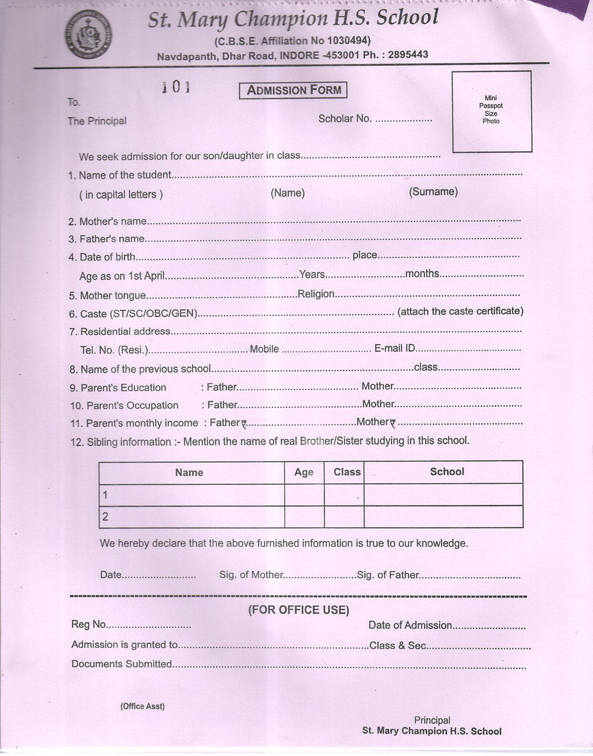 ... School Uniform · Admission Form Download  Admission Form For School
