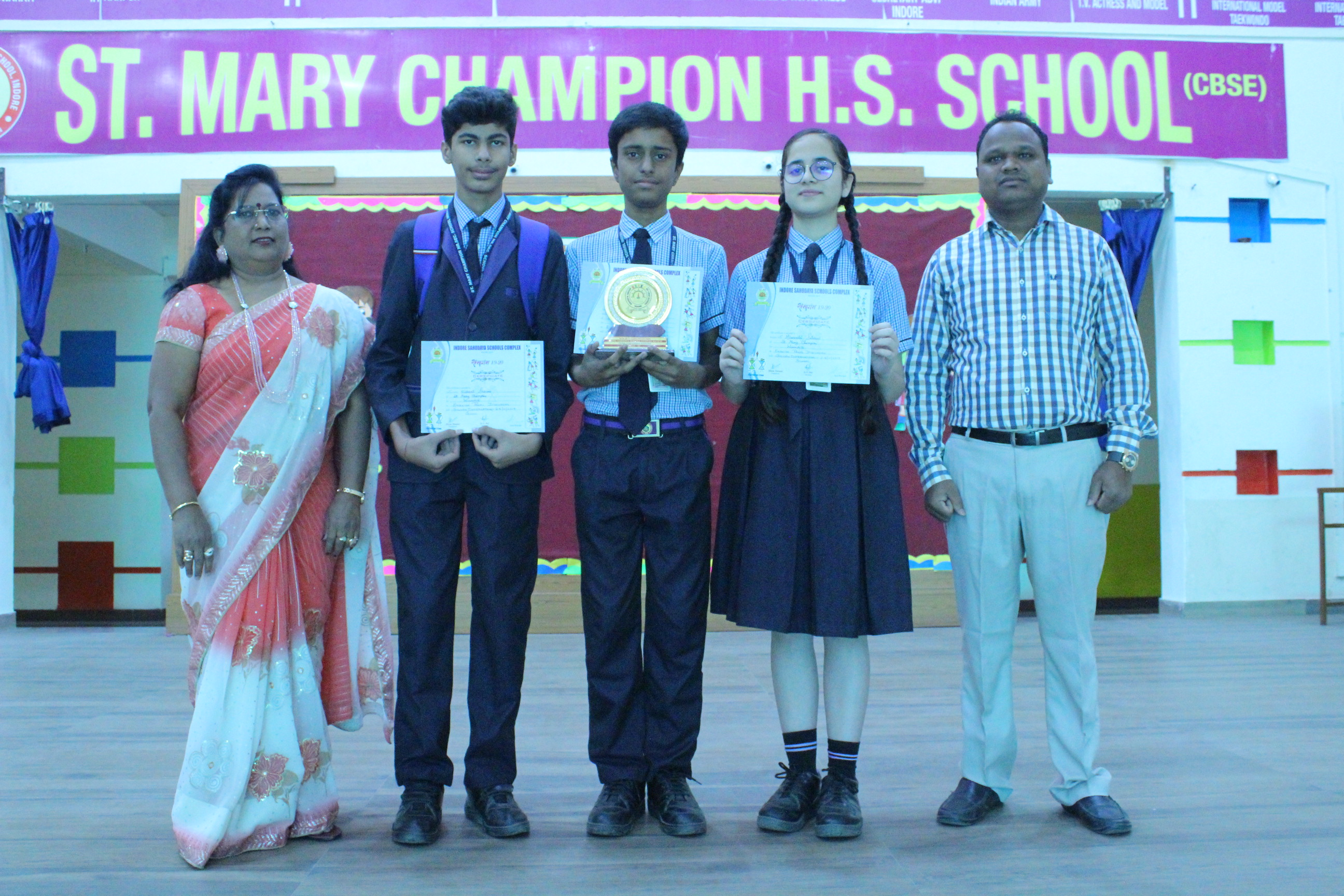 In the CBSE Sahodaya Inter School Panel Discussion (English) Competition, our school received the Best Performance Award 2019